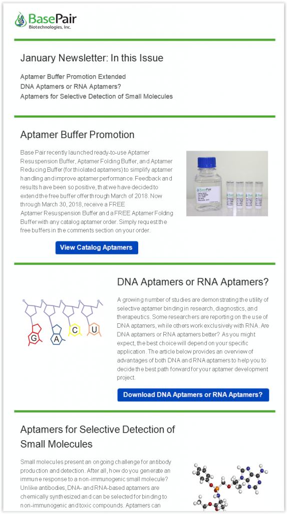 January Base Pair Aptamer Newsletter