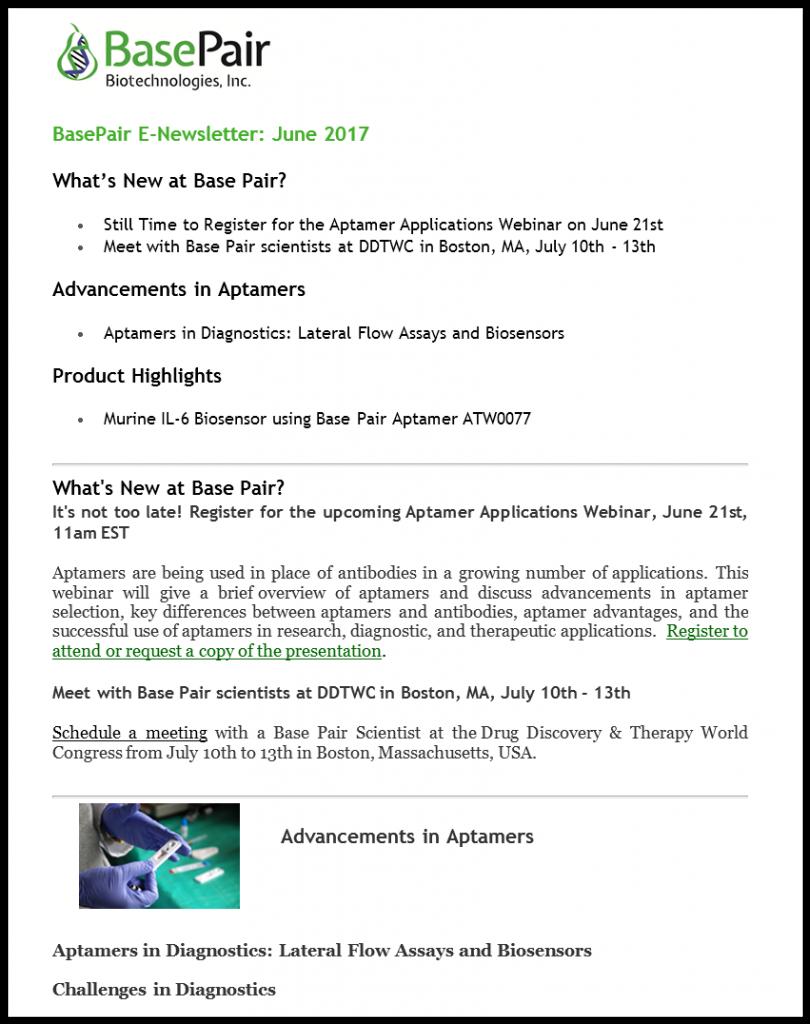 June newsletter: Diagnostic aptamers