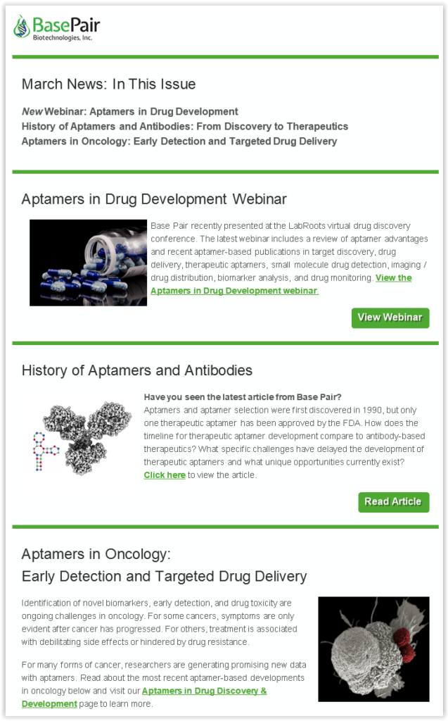 March Newsletter: Aptamers in Oncology